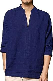 iTLOTL Men's Baggy Linen Long Sleeve Summer Cotton Retro V Neck T Shirts Tops Fishing Blouse