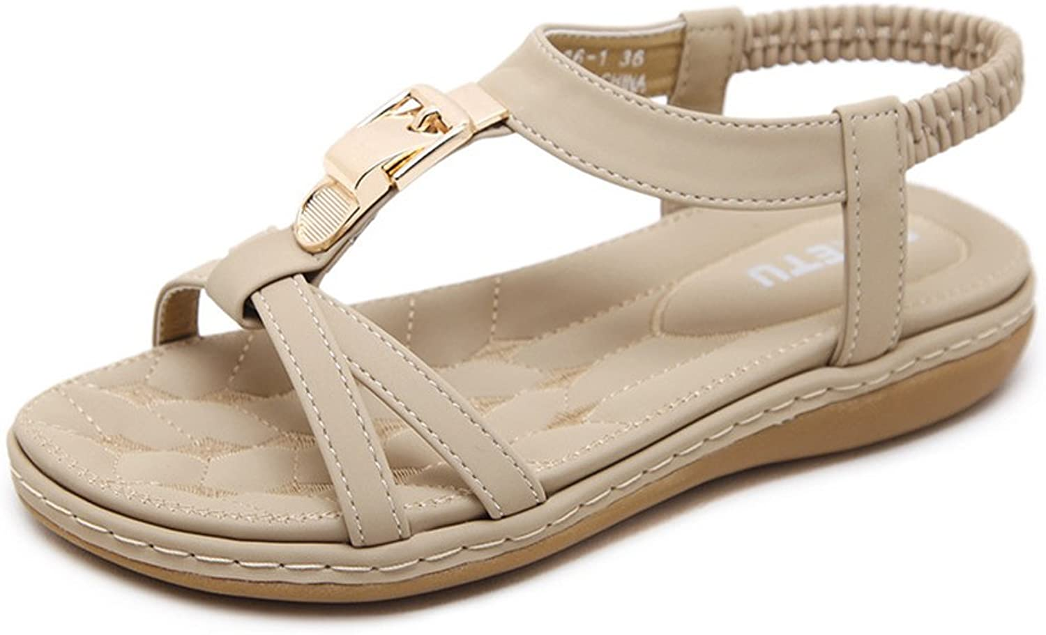 Ladies Sandals Buckle Flip Flop Summer Low Flat Heel Beach shoes