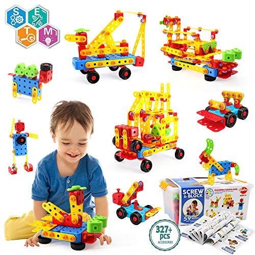 VATOS Konstruktionsspielzeug STEM Spielzeug Bauen 327 Stück Kreatives Baukasten Lernspielzeug Pädagogische...