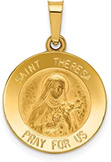 14k Yellow Gold Saint Theresa Medal Pendant Charm Necklace Religious Patron St Thoma Fine Jewelry Gifts For Women For Her