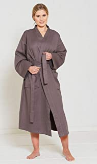 Great Knot Hotel Quality 100% Cotton Waffle Bath Robe Kimono (Charcoal, Large)