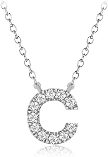 """CARATS FOR YOU 925 Sterling Silver, Round Cut Real Natural Diamond""""C"""" Initial Alphabet Pendant Chain Necklace For Women, 18 inch"""