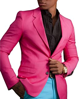 0eb91ff37d01 Fitty Lell Hot Pink Mens Suit Blazer with Blue Pants Young Wedding Party  Suits Prom Tuxedo