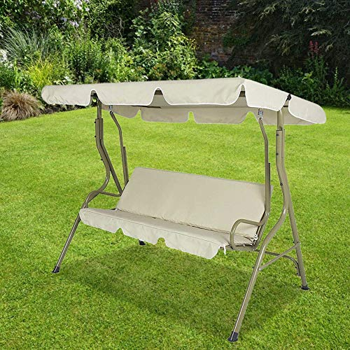 Robuste 142x120x18cm Schaukelabdeckung, Double People Gartenschaukelabdeckung, Anti-UV für Outdoor Home(Beige)