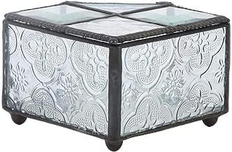 Liukouu Stained Trinket Organizer,Keepsake Jewelry Display Crystal Ring Storage Portable Lightweight Glass Box