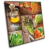 Bold Bloc Design - Organic Cooking Food Kitchen 40x40cm Single Boite de tirage d'art Toile encadree Photo Wall Hanging encadre et Pret a accrocher Canvas Print 13-0518(00B)-SG11-LO-A