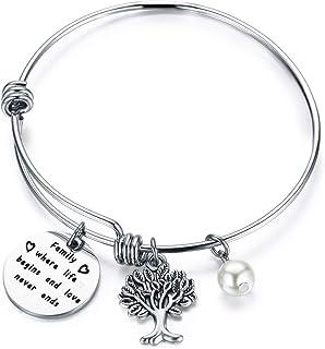 ENSIANTH Family Where Life Begins and Love Never Ends Bracelet Family Tree Bracelet Inspirational Family Jewelry