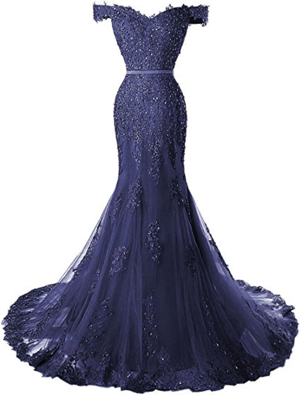 Fanciest Women's Off Shoulder Lace Prom Dresses 2017 Mermaid Evening Gowns Royal bluee