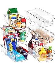 KICHLY – Opbergbakken Bijkeuken - Set van 6 containers (1 eierbak en 5 organiserende bakken) Opslag voor Koelkast, Keuken, Bijkeuken, Kasten en Werkbladen (Transparant)