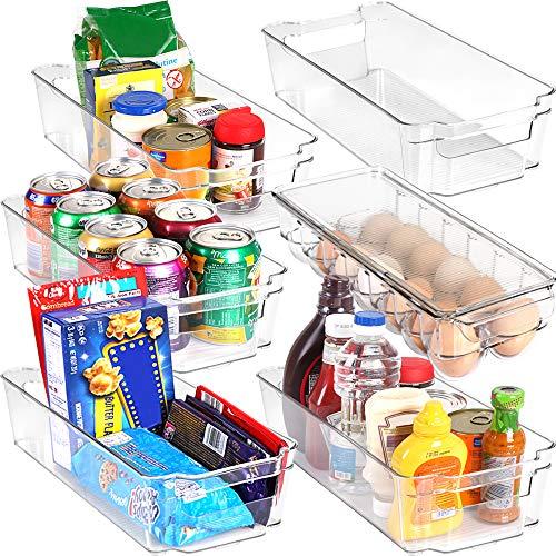 KICHLY Contenitori salvaspazio per dispensa - Set di 6 (1 vassoio portauovo e 5 contenitori organizzatori) - Organizer per frigorifero, cucina, dispensa, armadietti e ripiani - (Trasparente)