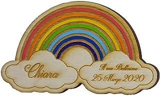 5 PEZZI Calamita personalizzata in legno arcobaleno per bomboniera nascita, Battesimo o primo compleanno