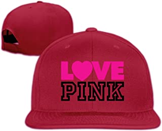 JUNJ Unisex Outdoor Classic Love Pink Sun Hat Adjustable Flat Along Cap