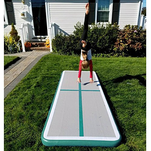 86 York 10ft Inflatable Gymnastics Tumble Track Air Track Floor Mats with Pump for Kids Home Use/Training/Cheer Leading/Beach/Park and Water Light Green