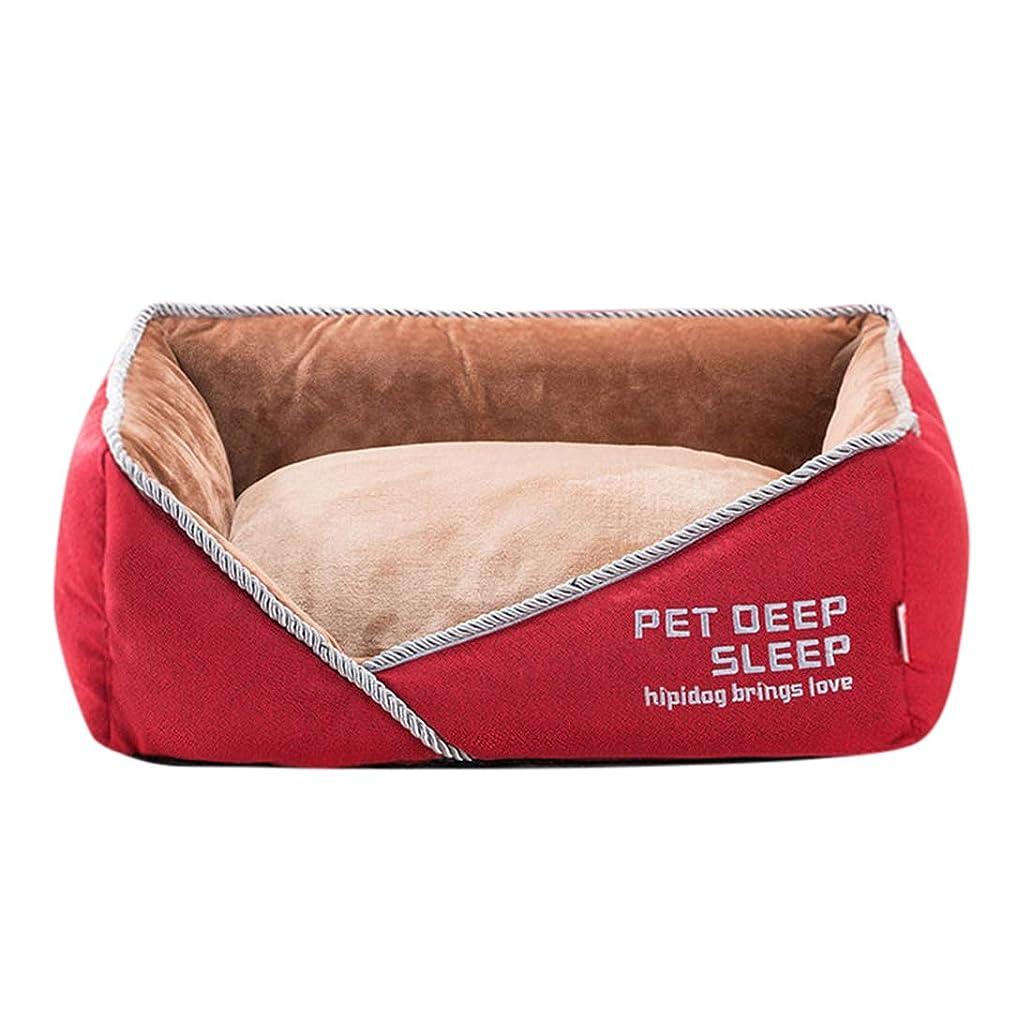 たくさんの牧師レッスンペットベッド 犬?猫用 洗える ペットソファ クッション ソフト ふわふわ 耐噛み 滑り止め 防湿 ペット用品 ペットマット ねこ 小中大型犬 もこもこ ぐっすり快眠 暖かい オールシーズン スクエア型 レッド L