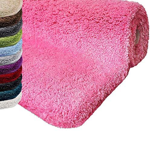 casa pura Tapis de Bain Rond Qualité Premium Oeko Tex | Epais, Moelleux, Absorbant | Lavable en Machine | Plusieurs Tailles et Couleurs | Rose - 95cm de diamètre
