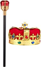 Blue Panda 2-Piece Kids King Medieval Crown Imitation Royal Scepter - Prince King Jeweled Crown Boys, King Party, Party Decorations, Gold Red