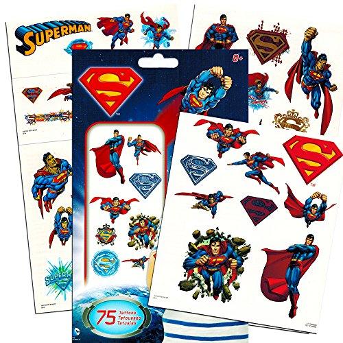 Superman Temporary Tattoos Party Favor Set (75 Temporary Tattoos)
