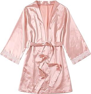 Romwe Women's Pure Satin Silk Short Kimono Robe Bridesmaid Belted Bathrobe