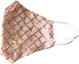 Makkalensau Fashion Sequins ????? Mouth Cover, Unisex Washable Reusable Cotton Maskss Warm Face Scarf Sunscreen for Outdoor Activities (Adults, Pink)