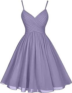Short Chiffon Bridesmaid Dresses A-Line Knee Length Spaghetti Strap V-Neck Party Dress with Pockets B011