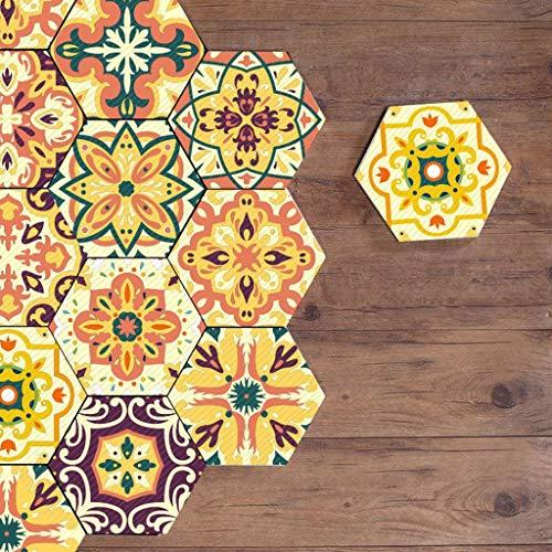 Hexágono pegatinas Vinilo para suelo de baldosas para decoración del hogar hexagonal Sala de estar Cocina Baño Calcomanías para azulejos de piso, Pelar y pegar autoadhesivo, 7.87
