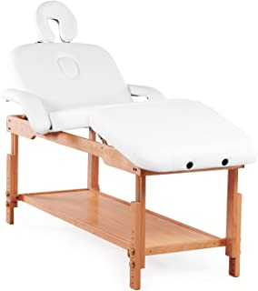 Massage Table Bed Stationary Professional Tilt Adjustable with Storage 3 Section (White)