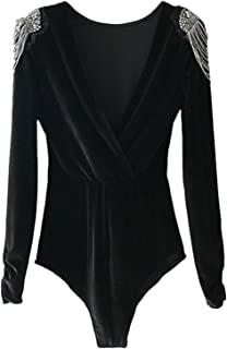 DIDK Women's Deep V Neck Wrap Long Sleeve Velvet Solid Bodysuit