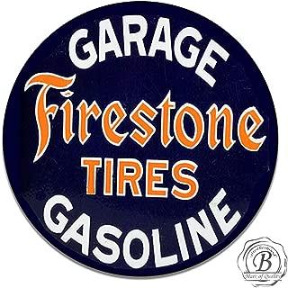 Brotherhood Firestone Tires Garage Gasoline Vintage Tires Emblem Seal Vintage Gas Signs Reproduction Car Company Vintage Style Metal Signs Round Metal Tin Aluminum Sign Garage Home Decor