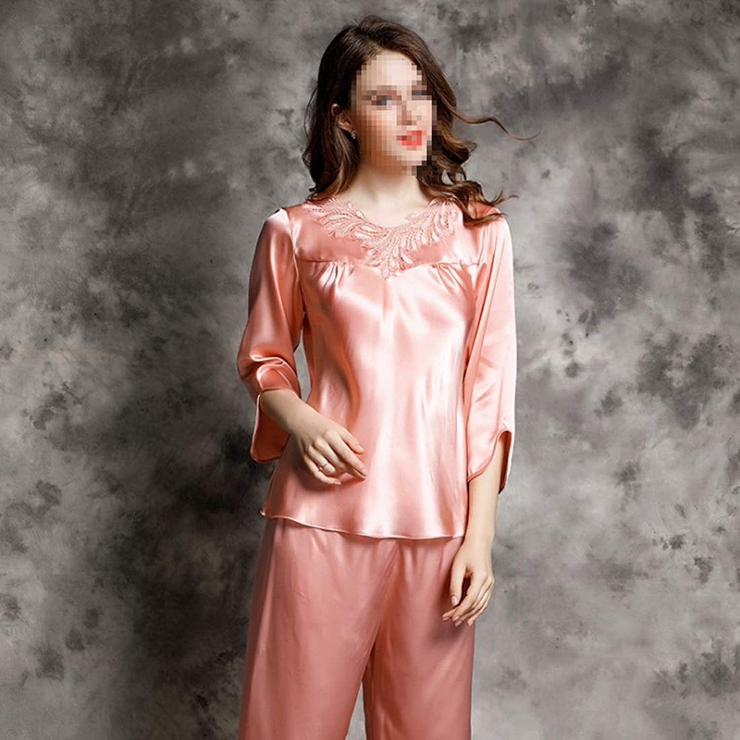 CEFULTY Women's Silk Casual Longsleeved Silk Twopiece Home Service Suit