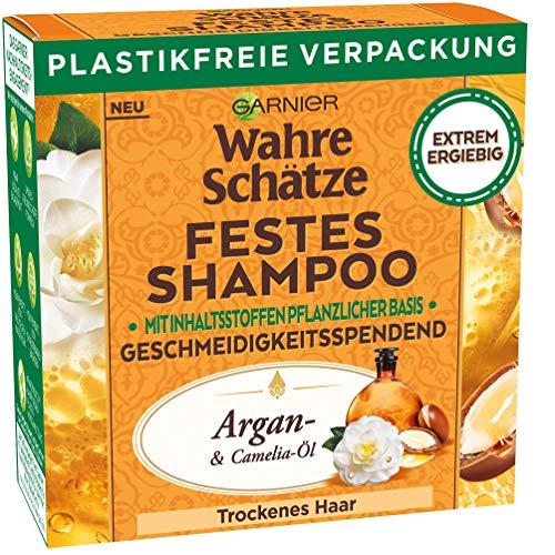 Garnier Festes Shampoo mit Argan- & Camelia-Öl pflegt trockenes Haar geschmeidig & verleiht Glanz, mit plastikfreier Verpackung, Wahre Schätze, 71 g