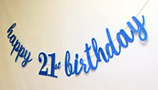 All About Details Happy 21st Birthday Cursive Banner, 1set, 21st Birthday Banner (Blue)