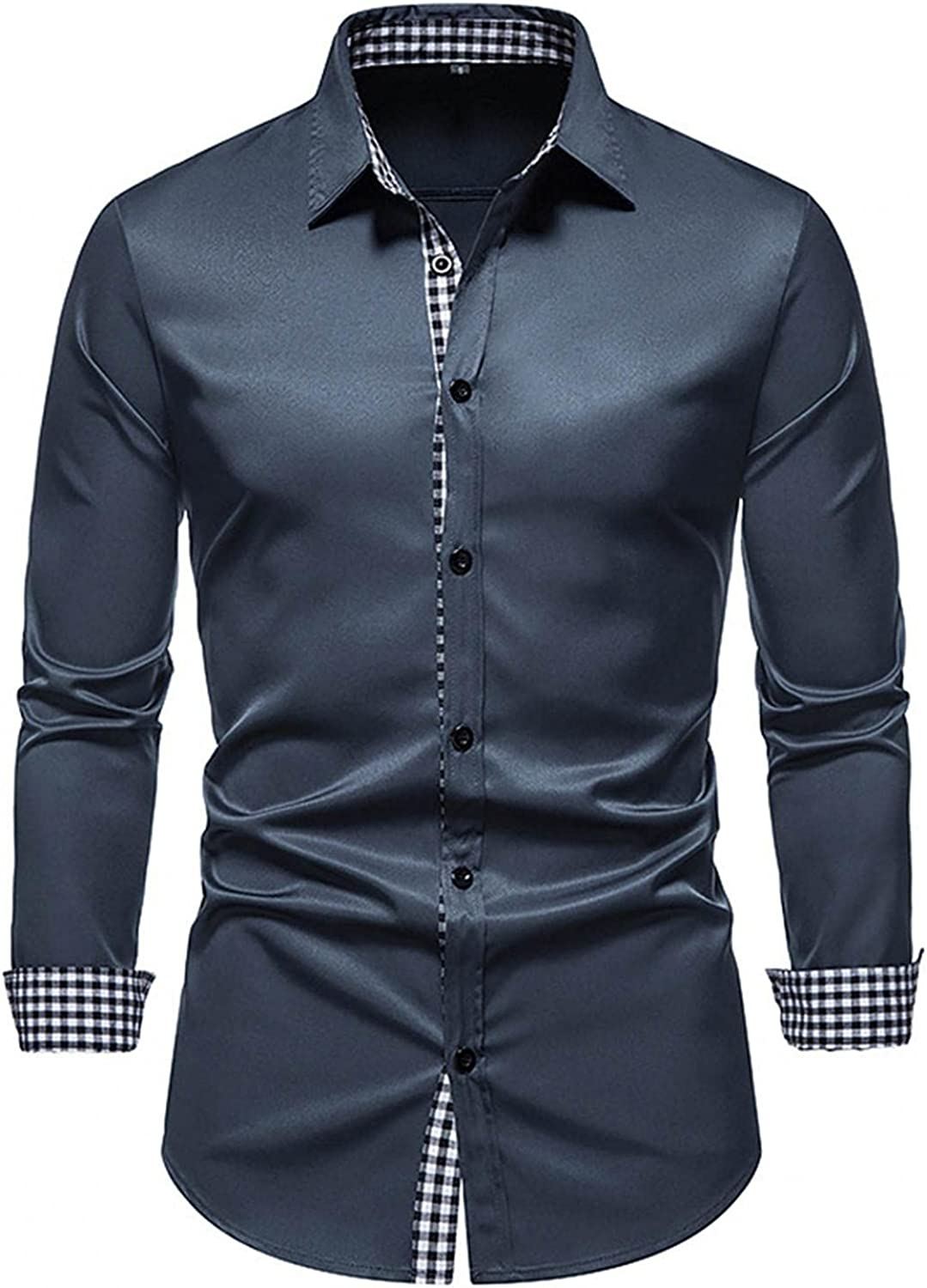 LEIYAN Mens Long Sleeve Dress Shirts Casual Stand Collar Slim Fit Tailored Button Down Business Work Tops
