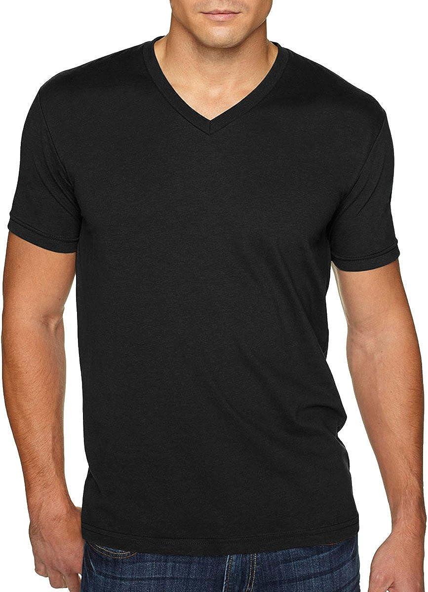 Men's premium cotton / suede blend v-neck t-shirt. (Black) (Large)