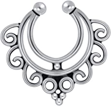 Best Wing Nose Studs & Clips Hypoallergenic Sterling Silver Bali-Style/Tribal-Style Non-Piercing Septum Clip (093580)