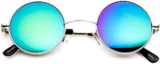 zeroUV - Retro Round Sunglasses for Men Women with Color Mirrored Lens John Lennon Glasses