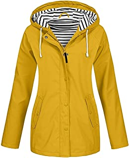 Women's Striped Lining Sunscreen Coat Plus Size Hooded Outdoor Sportswear Solid Rain Jacket E-Scenery