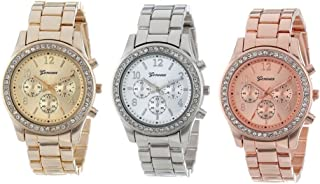 3PCs Silver Gold and Rose Gold Plated Classic Round Geneva Ladies Watch