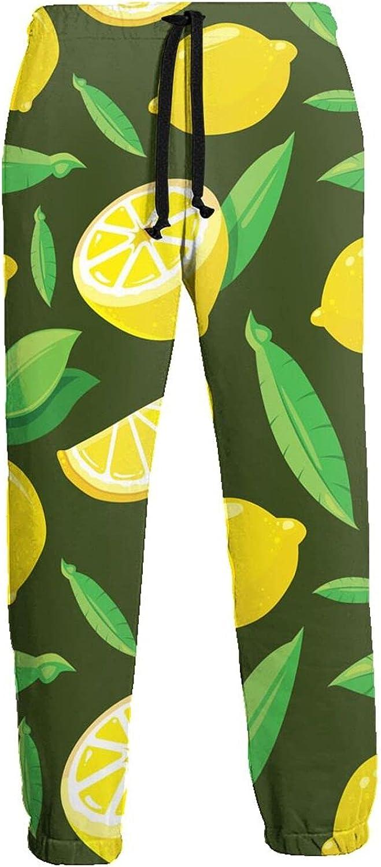 Active Sweats Jogger Pants Lemon Green Leaves Running Joggers Casual Sweatpants for Men Women