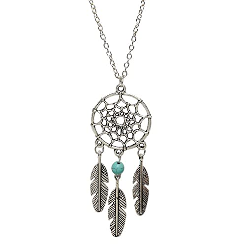 Young & Forever Boho Bohemia Free Spirit Dreamcatcher Silver Pendant Necklace for Girls Women (N267)