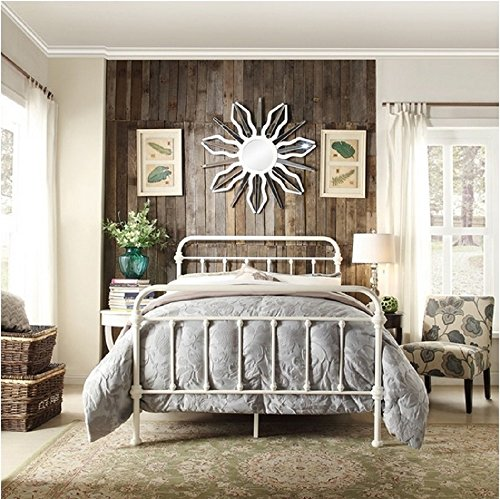 Inspire Q Giselle Antique White Graceful Lines Victorian Iron Metal Bed (Queen)