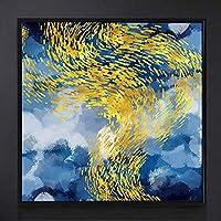 ゴールデンラグジュアリーライン水泳魚の風景画、寝室用100%手描きの油絵大きなプリント写真アートワークリビングダイニングルームオフィス廊下家の装飾、150X150Cm(60X60Inch)