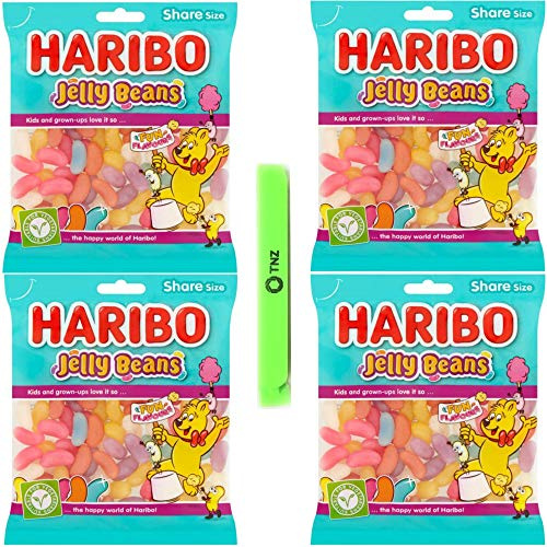 Haribo Jelly Beans 160g x4 - Halal, Vegetarian Sweets- Includes 1 Sealing Bag Clip