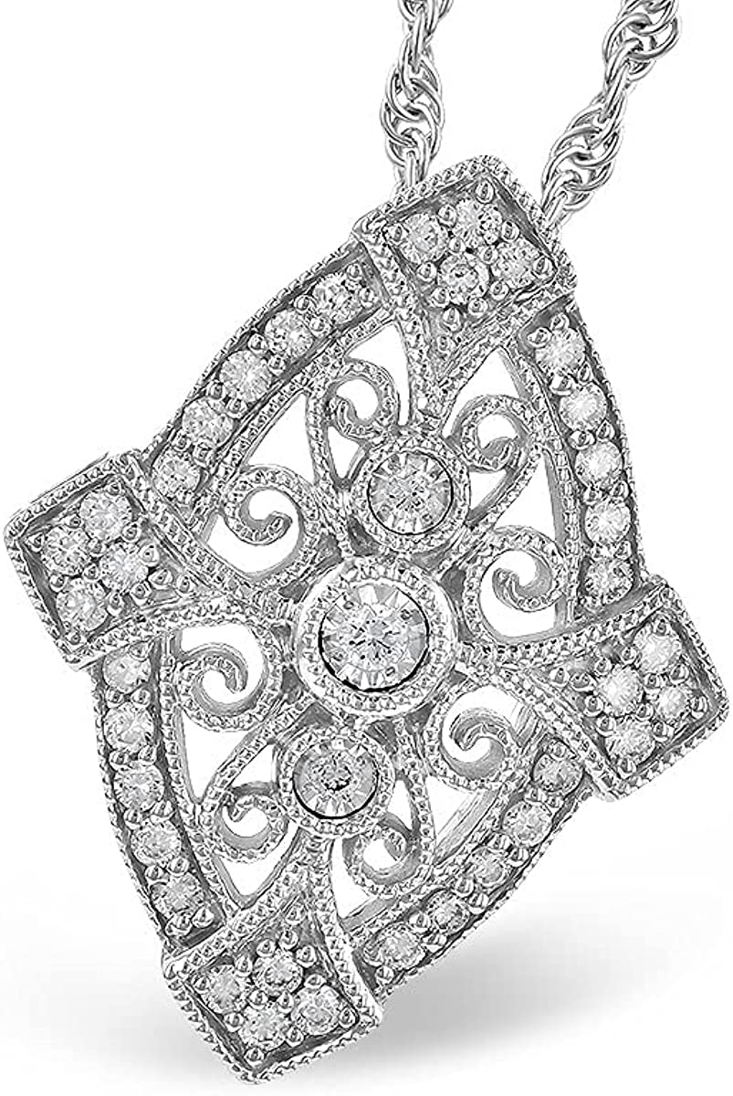 14K White Gold Diamond Scroll Kaufma Allison Necklace New York Mall Detail Popular products