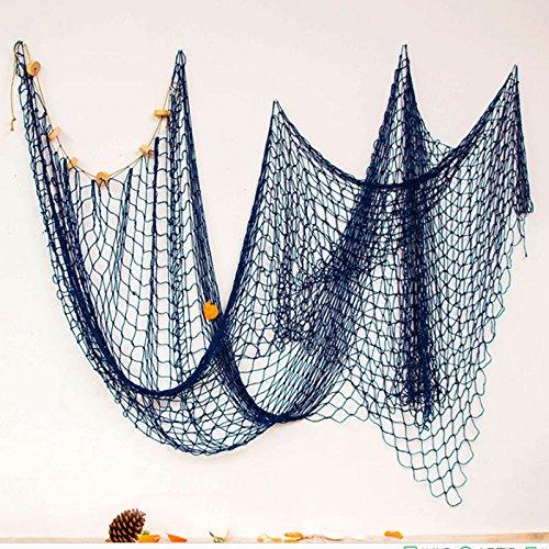 Pinzhi Filet de plage bleu nautique sur le thème de la mer mer océan poisson Décoration murale de fête