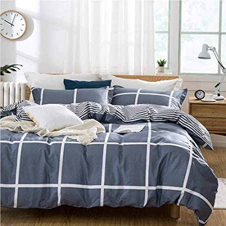 TIFFICO Duvet Cover Set Queen Size - 3 Pieces Grid Geometric Striped Microfiber Soft Lightweight Down Duvet Comforter Quilt Bedding Covers with Zip Ties - 90x90 inch for Young Women Men, Navy Blue