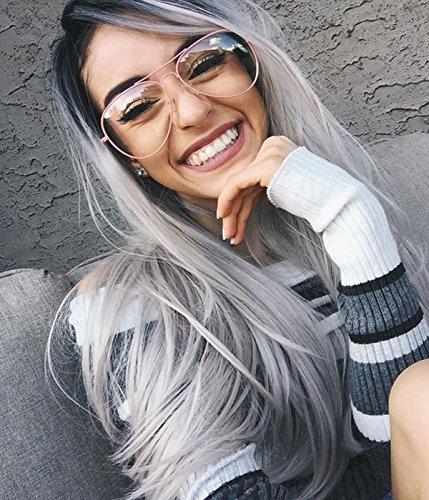 VEBONNY Synthetic Silver Perücken für Frauen Beste graue Perücke verwurzelt schwarz Ombre grau Perücken gewellte Ombre Spitze Front Perücke 22 Zoll VEBONNY-014