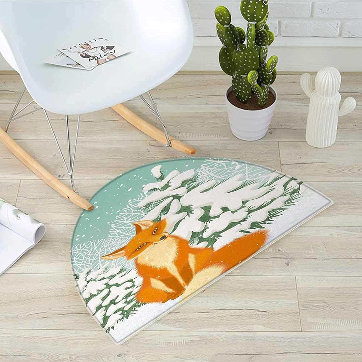 Fox Half Round Door mats Red Fox Sitting in Winter Forest Snow Covered Pine Trees Xmas Cartoon Bathroom Mat H 31.5  xD 47.2  orange White Almond Green
