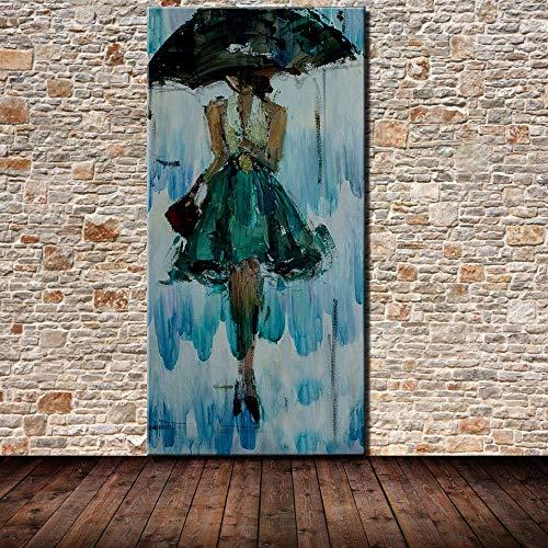 XIAOXINYUAN Pintura Al Óleo Pintada A Mano 100% Mujer con Paraguas Cuadro De Pared De Arte Moderno Abstracto De La Decoración del Hogar Pintura Al Óleo 50×100Cm