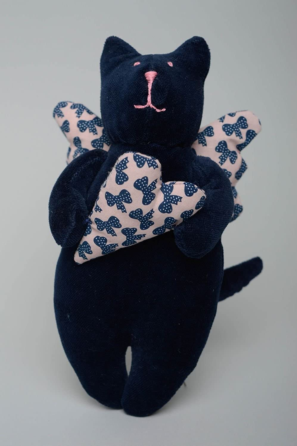 Handmade Soft Toy Angel Cat With Heart