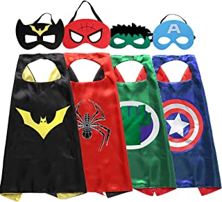 Zaleny Superhero Kids Dress up Costumes 4 Satin Capes 4 Felt Masks Super Hero Themed Party Supplies